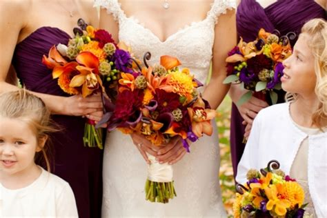 Picture Of Charming Purple And Orange Fall Wedding Purple And Orange Centerpieces For Weddings