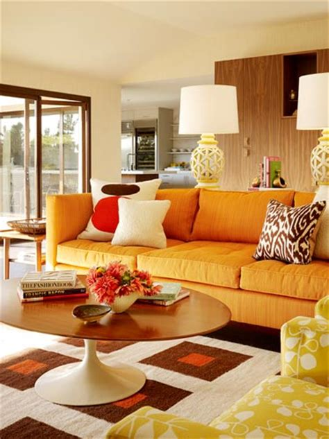 Orange Sofa Interior Design by Mid Century Modern Living Room Design Ideas Room Design