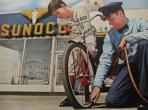 1950s sunoco vintage gas station service advertisement attendant bicycle air photo gas