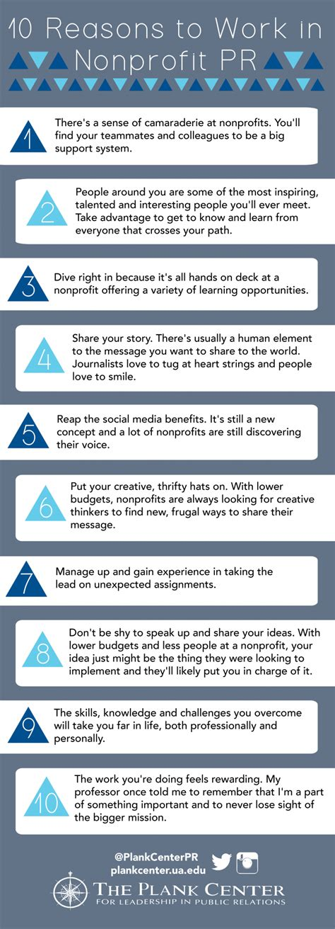 10 Reasons To Work by 10 Reasons To Work In Nonprofit Pr The Plank Center For