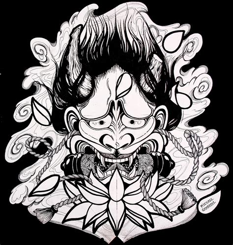 japanese mask tattoo design mike s design hannya mask