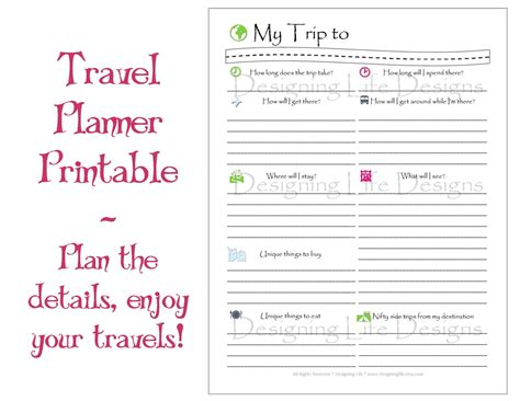 printable daily vacation planner 9 best images of travel planner template printable