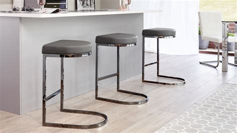 black chrome bar stool kendell range faux leather