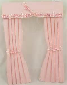 Baby Curtains 1 12 Scale Dolls House Miniature Curtains In Baby Pink
