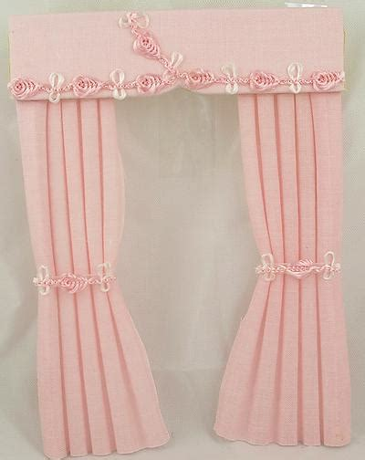 Baby Pink Curtains 1 12 Scale Dolls House Miniature Curtains In Baby Pink Cotton Fabric Dolls Clothes And