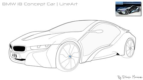 how to draw a car bmw i8 step by step easy bmw i8 concept car lineart by djnetz on deviantart
