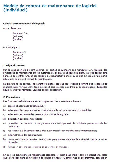 modele lettre resiliation contrat maintenance informatique