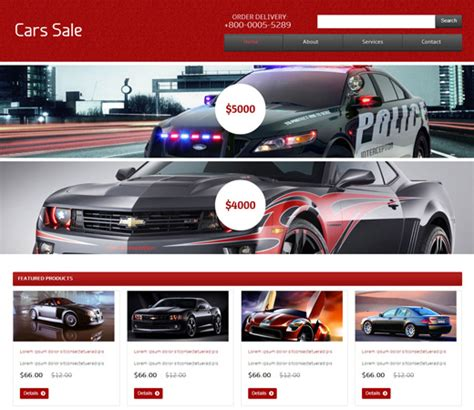 20 auto parts cars html website templates