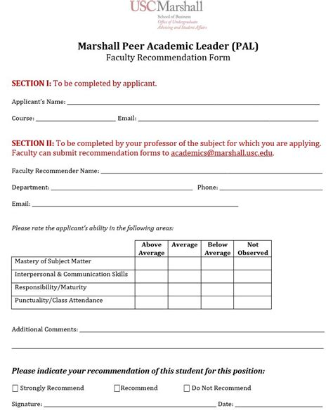 Mba Alumni Recommendation by Pal Application Faculty Recommendation Form Usc Marshall
