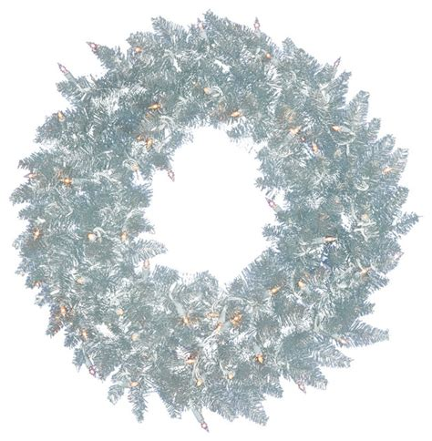 wreath with lights 24 quot pre lit silver spruce tinsel wreath