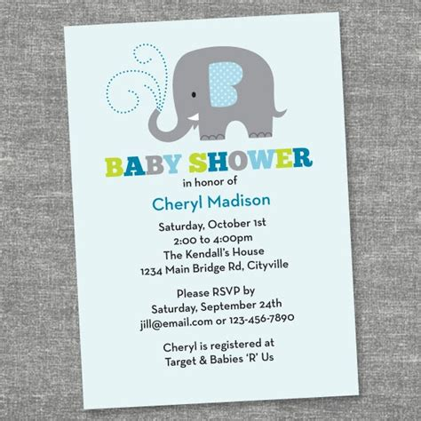 Ghina Fj 03 property of sweet elephant baby shower invites