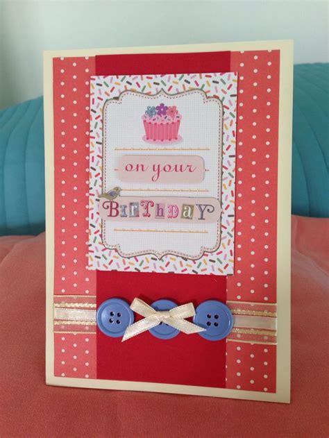 Funky Handmade Cards - funky birthday with ribbon button trim my handmade