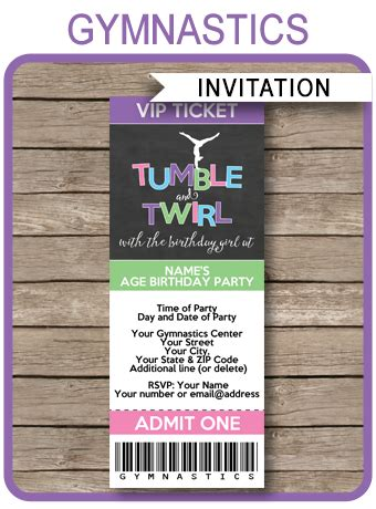 Gymnastics Party Ticket Invitations Birthday Party Gymnastics Birthday Invitation Templates