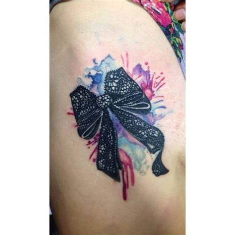 watercolor tattoo toronto chronic ink toronto watercolor lace bow