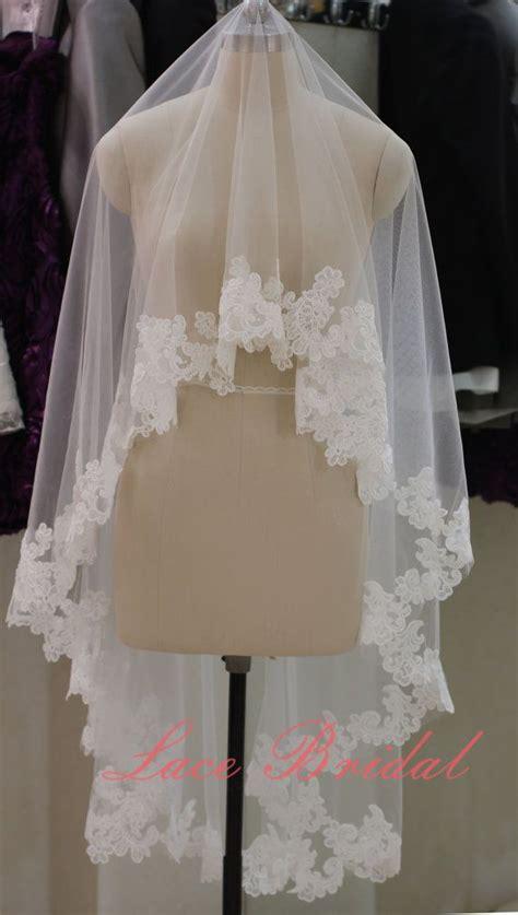 Handmade Veil - handmade two tiers veil ivory lace edged veil for wedding