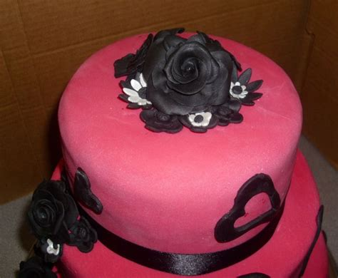 black and pink birthday cake pink and black tiered 18th birthday cake cakecentral com