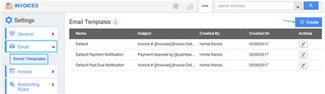 how do i setup custom email templates for my invoices