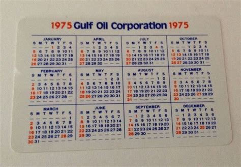 Stores That Sell Calendars Estate 1975 Gulf Pocket Calendar Plastic Every Drop
