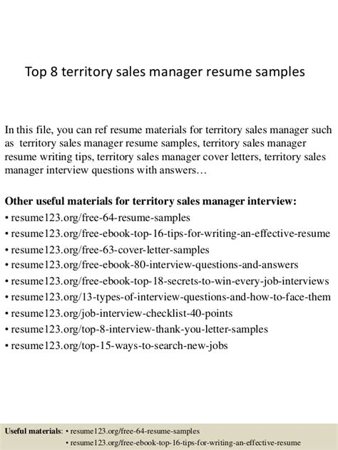 top 8 territory sales manager resume sles
