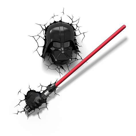 Boys Wall Stickers For Bedrooms star wars darth vader s lightsaber 3d led wall light