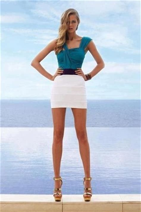 white skirts turquoise blue tops light yellow heels