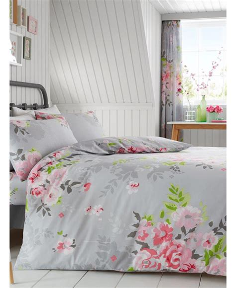 pink floral bedding alice floral double duvet cover and pillowcase set grey and pink bedding