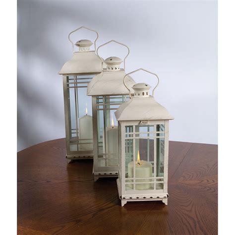 Set Of Three Candle Lanterns White Lantern Set Of Three International Indoor