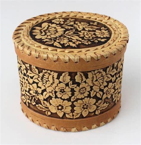 Wooden Trinket Boxes Handmade - wooden birch bark trinket box russian handmade