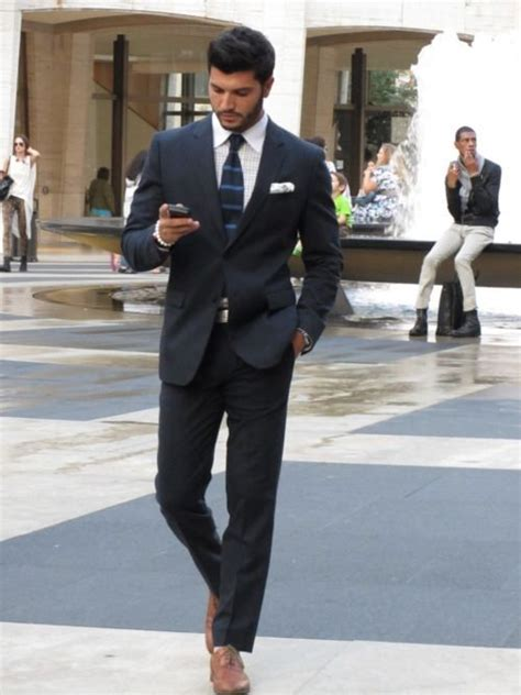 if i wear a navy suit brown shoes light blue shirt and a well fitted navy suit checked oxford light tan brogues