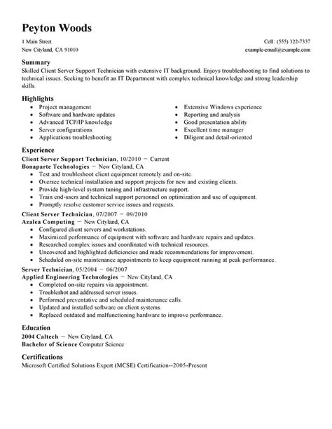 How Many Jobs Should Be On A Resume by Best Client Server Technician Resume Example Livecareer