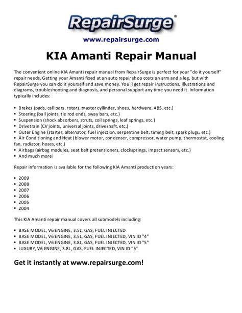 2004 Kia Repair Manual Kia Amanti Repair Manual 2004 2009