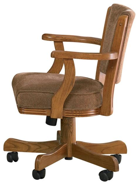 Upholstered arm game chair with casters oak traditional office chairs