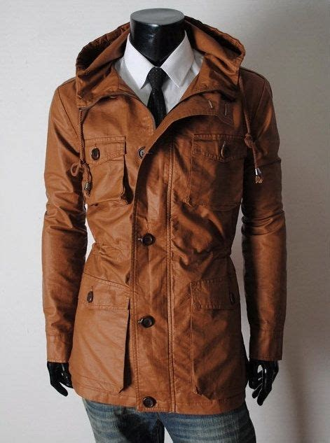 Handmade Leather Jacket - handmade brown hooded leather coat classic by