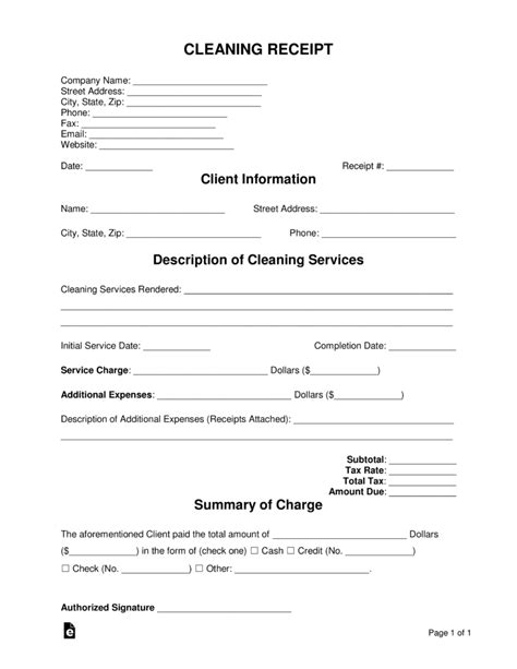 cleaning service receipt template free cleaning service receipt template pdf word