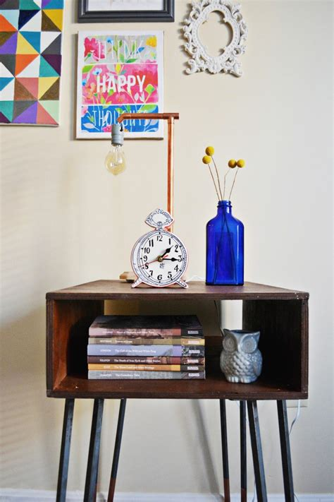 diy side table hairpin legs diy copper dipped hairpin leg side table a joyful riot