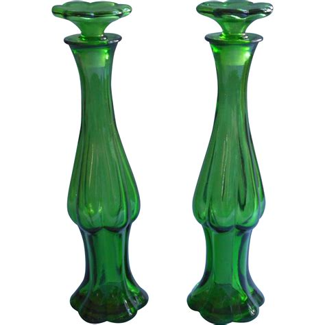 Glass Bottle Vases by Pair Emerald Perfume Bottles Bud Vases Vintage Avon Glass