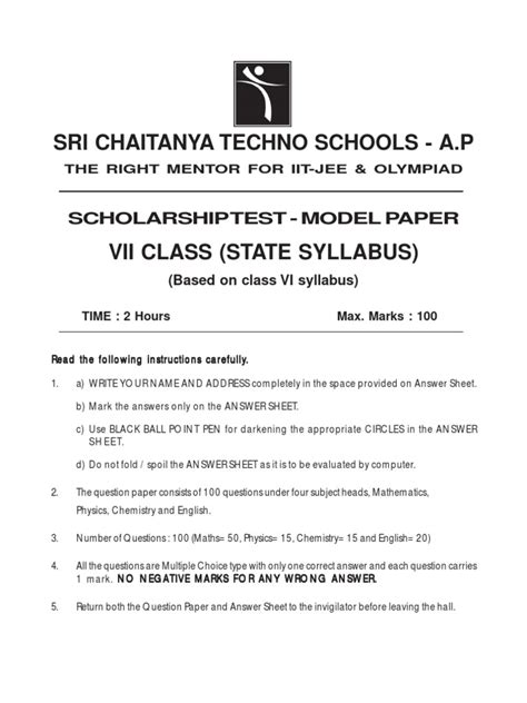 Scholarship Sle Papers For Class 7 7th class state syllabus scholarship test paper carbon