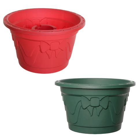 new whitefurze christmas tree tub green red stand xmas