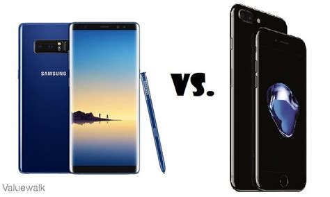 galaxy note 8 vs iphone 7 plus specs comparison