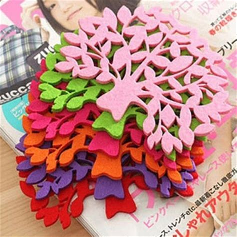 Tree Cup Mat tree shaped 5pcs colorful felt coaster cup mat pad for