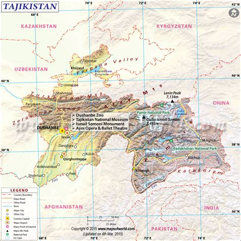 us map with states cities and highways tajikistan map map of tajikistan