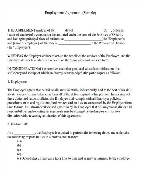 Employment Letter Contract Basis Agreement Letter Formats