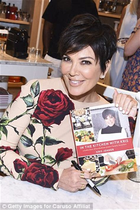 Sharrats Dressed Up Book Tour by Kris Jenner In Patterned Dress To Sign Copies Of