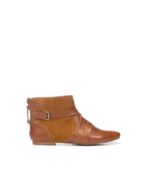 flat boot shoes zara combined flat ankle boot in brown lyst