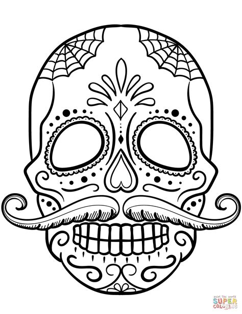 sugar skull coloring sugar skull with mustache coloring page free printable