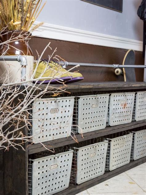 industrial shoe storage bench diy storage bench with rustic industrial style hgtv