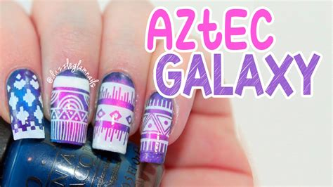 aztec pattern nail art aztec galaxy nail art tutorial youtube