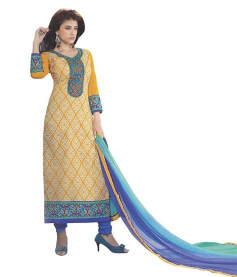 Cotton Dress Yellow Blue 30086 indiweaves fashions yellow blue cotton embroidered dress material buy indiweaves fashions