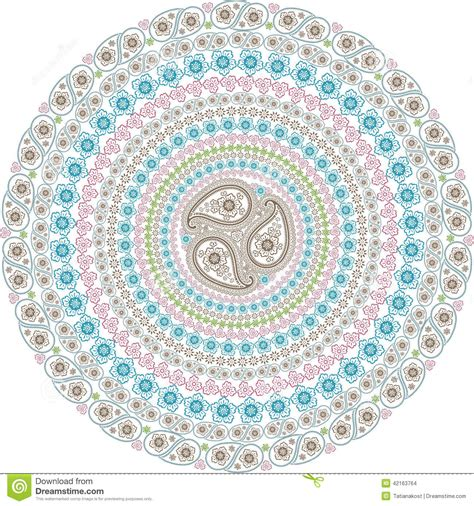 wallpaper background motif paisley circle composition oriental motif stock