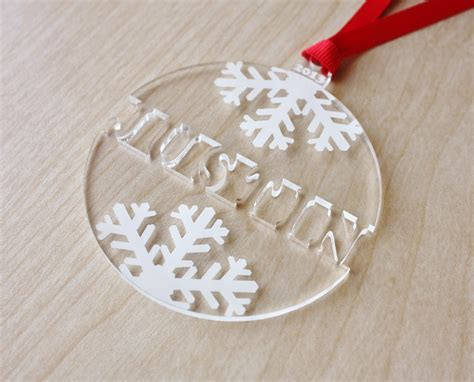 snowflake name ornament engraved christmas ornament